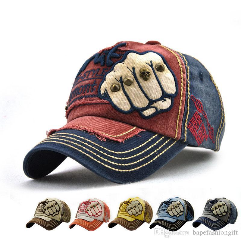 Fashion Fist Baseball Hat Male Ms. Trendy Fashion Letter Nail Casual Cap Six-colored Neutral Cap Dome Cotton