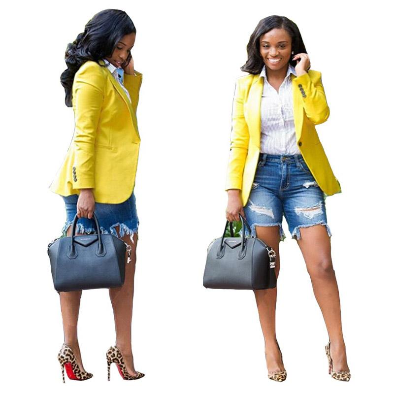 여자 재킷 가을 겨울 패션 캐주얼 여자 단색 정장 재킷 노란색 재킷 올 스타일 2xl 811