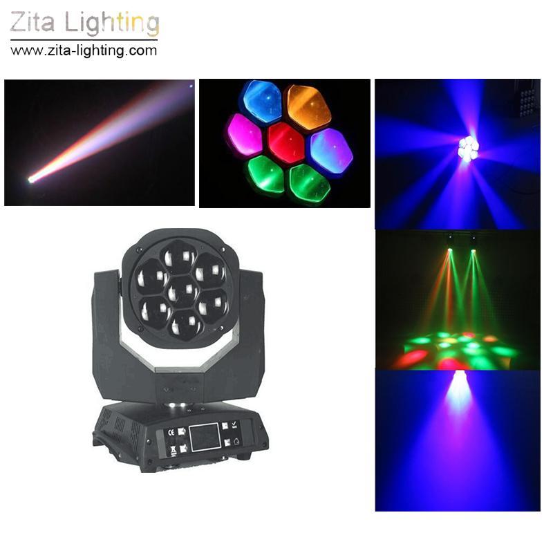 Zita iluminação de palco Luzes 7 * 15W LED Movendo DMX 512 Wedding Party Chefe Raio de Luz RGBW 4IN1 DJ efeito das luzes do disco da dança Led Light