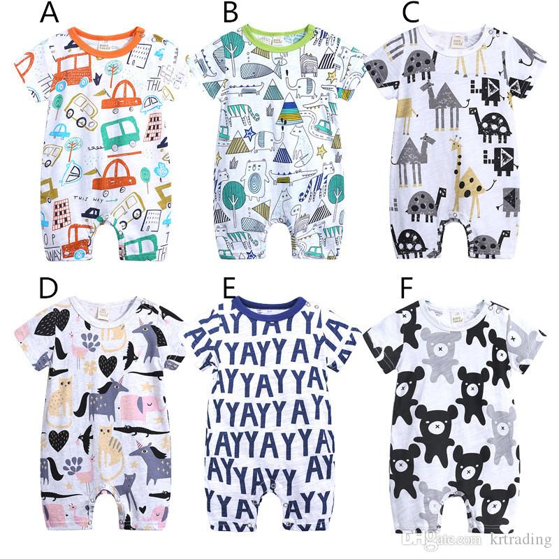 Baby cute cartoon animal printing romper summer short sleeve onesie 0-2T whale unicorn elephant giraffe cat car infants clothing ins hot