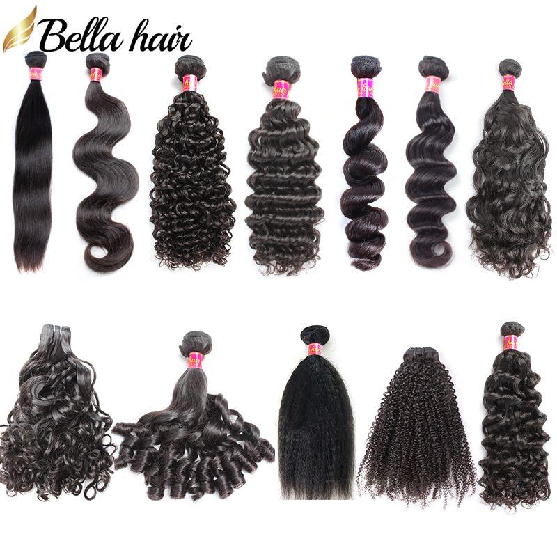 Bella Hair® Double Weft Бразильские пакеты волос 10-24 дюйма человеческих волос наращивание волос натуральный цвет класса 9a уток волос Julienchina ST BW CW LW Kinky