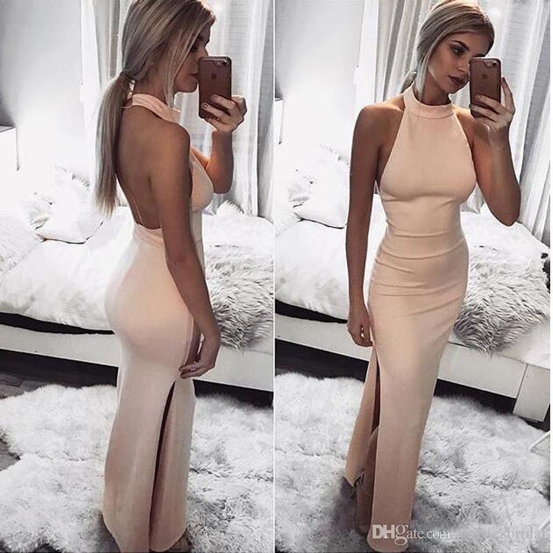 Robes de bal sexy dos nu halter rose fendue soirée robe de soirée robes de style sirène rose soirée