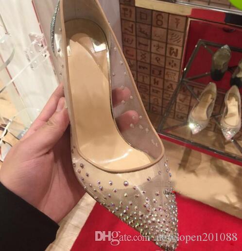 2019 nuova primavera estate Stili eleganti scarpe da donna Strass tacchi alti cristalli scarpe a punta in mesh Pompe donna scarpe da sposa suola rossa