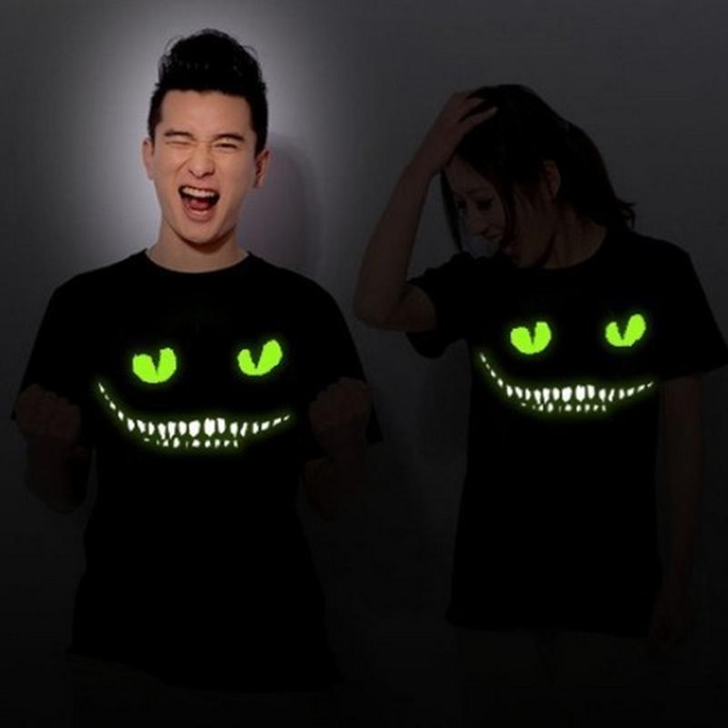 Siyah Noctilucent Baskı Koyu Şeytan Cheshire Kedi Gece Işık Kısa Kollu erkek kadın Yenilik Komik Aydınlık T Gömlek Yaz Giyim