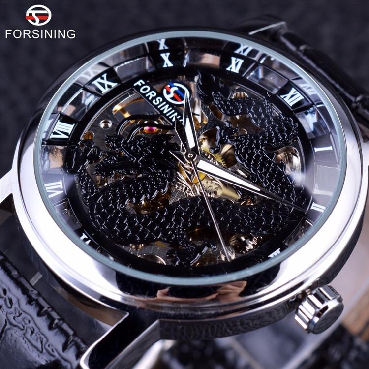 Forsining Dragon Series Transparent Silber Fall männliche Armbanduhr Herrenuhren Top-Marke Luxus mechanische Skeleton Watch