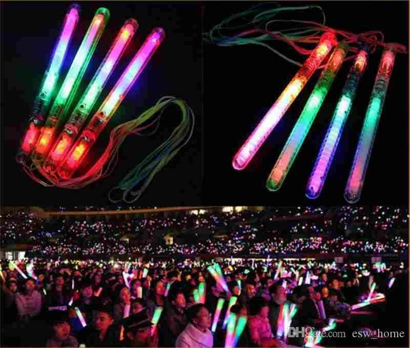 Multi Colorful 7 Modes LED Flashing Night Light Lamp LED Glow Sticks with strap Party festival Camp