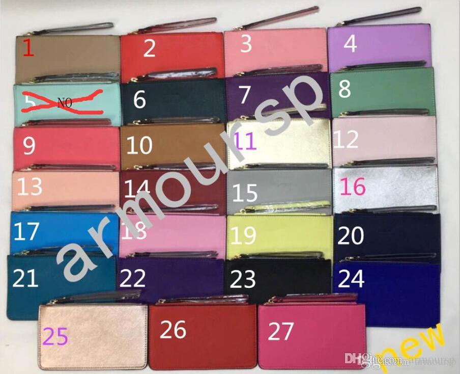 2019 مصمم الساخنة محافظ السوار المرأة المحافظ مخلب أكياس السوسته تصميم بو wristlets 27 الألوان