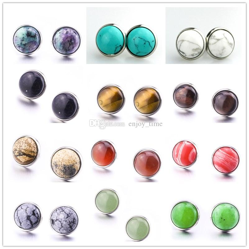 Fashion Round 12mm Natural Stone Druzy Stud Earrings Turquoise Stainless Steel Earrings for women jewelry