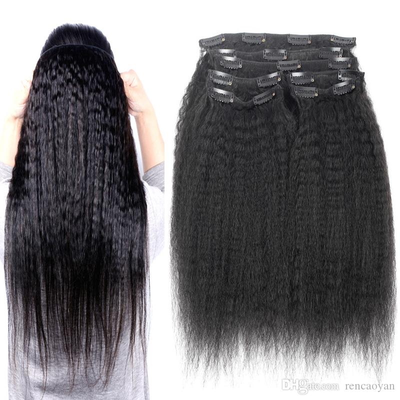 yaki clip in extensions 10Pcs/Set 120G Peruvian Remy Kinky Straight Human Hair Clip In Extensions italian coarse yaki clip in