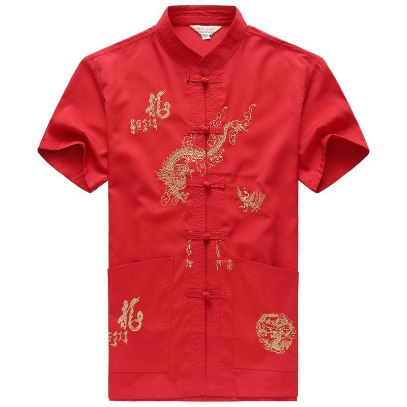 Broderie Vêtements pour hommes chinois Chemise à manches courtes en coton chinois traditionnel Vêtements Tang costume Hauts pour hommes