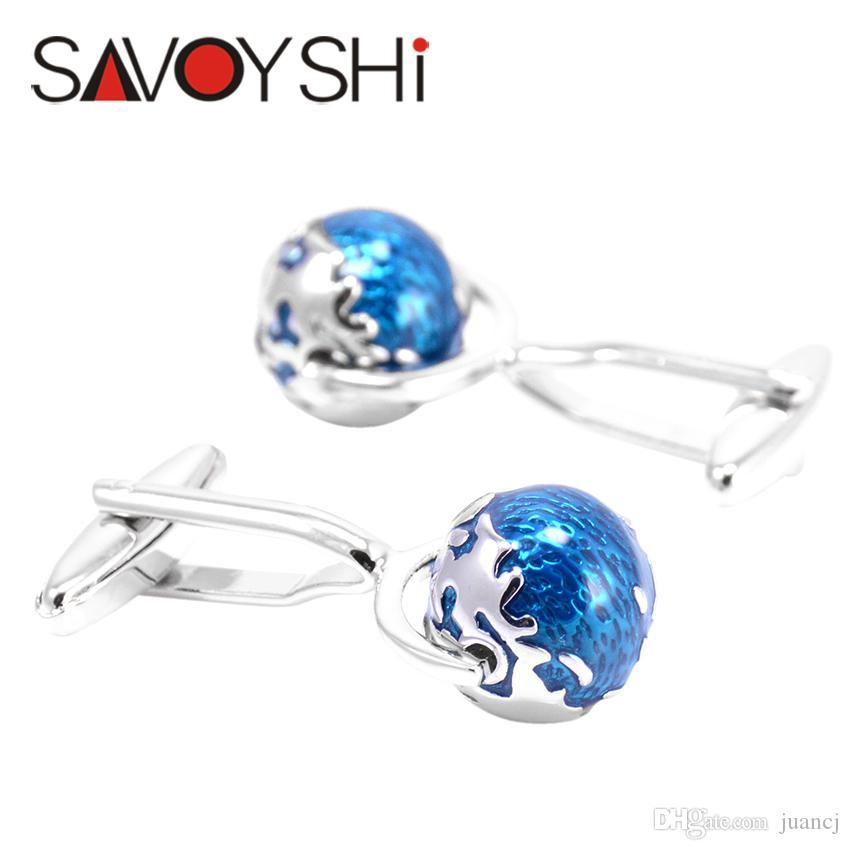 Tellurion Cufflinks for Mens Shirt Cuff bottons High Quality Blue Enamel Globe Cuff links Fashion SAVOYSHI Brand Jewelry Design