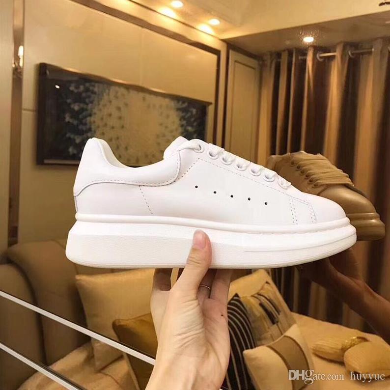 Üst Kalite Popüler Günlük Ayakkabılar Gerçek Deri Sneakers Womens Trendy Trainer Beyaz Deri Platform Ayakkabı Düz Chaussures ile Kutusu