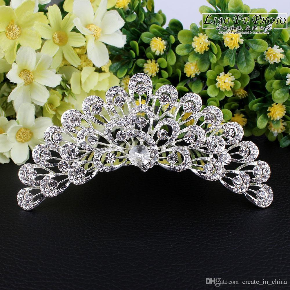 2018 New Arrival Fashion Silver Hair Jewelry Pearl Crystal Tiaras And Crowns For Bride Wedding Women Handmade Hair Accessories Hot Sales