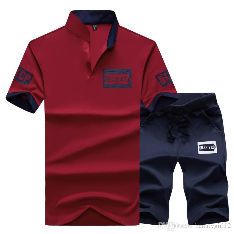 Sportsuits Set Набор Футболка Couscsuit Polo Костюмы Летние 2 шт. Верх Короткие Стенд Мужские Мужские Воротник 2 Мода Шорты 2021 Бренд Bamtk