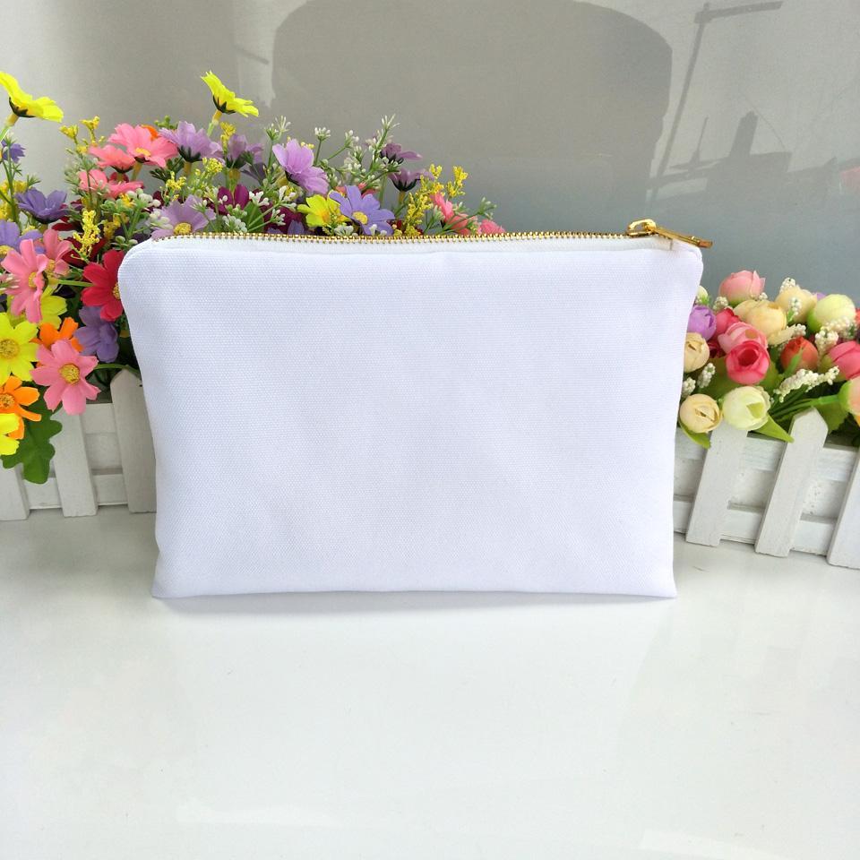 30 adet / grup 7x10in boş beyaz poli tuval yüceltme makyaj çantaları altın zip ile boş beyaz poli kozmetik çanta için süblime baskı