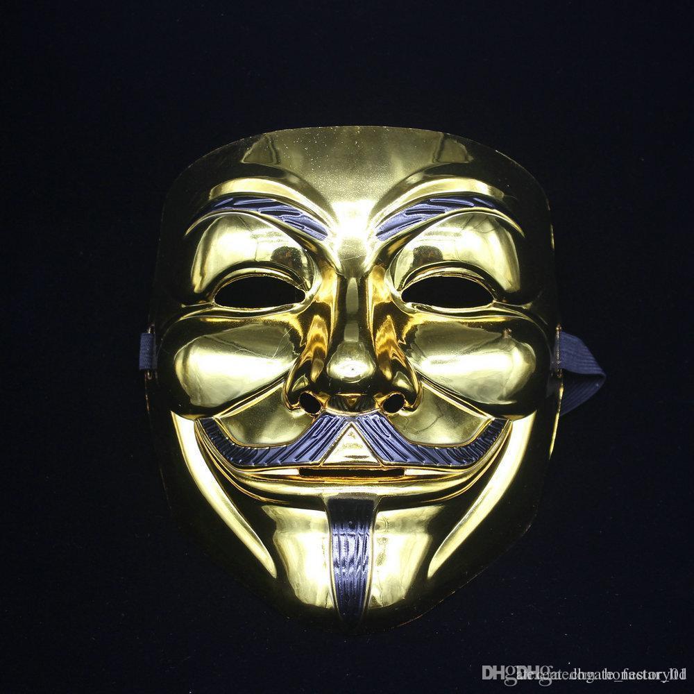 Free EMS100 pcs Movie theme V for Vendetta mask Halloween full face plating silver gold mask