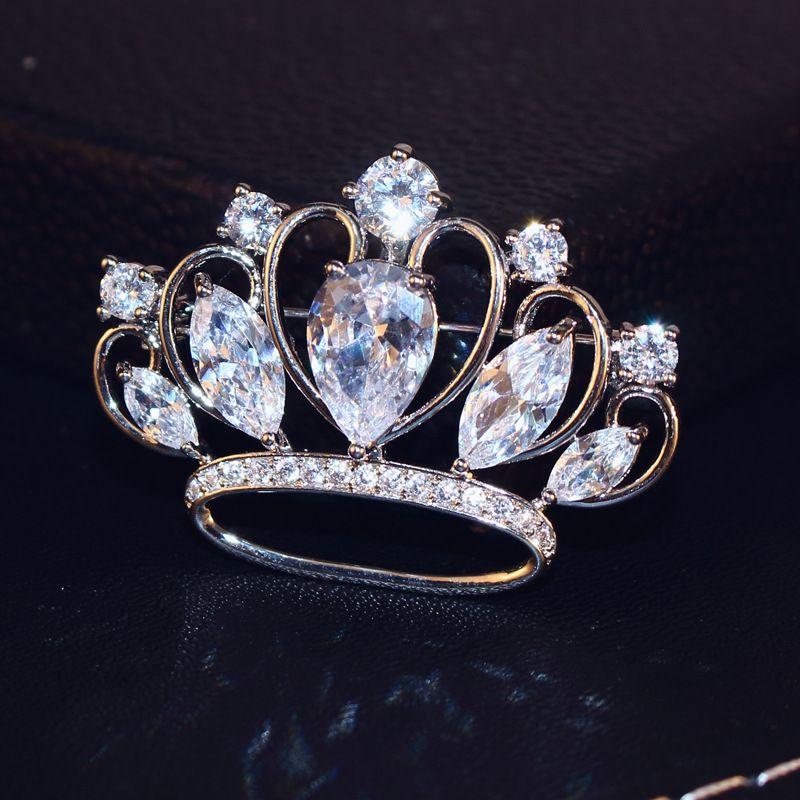 Agood broches de alta calidad para las mujeres bufanda pins plata CZ diamantes forma de corona bling bling BV00062