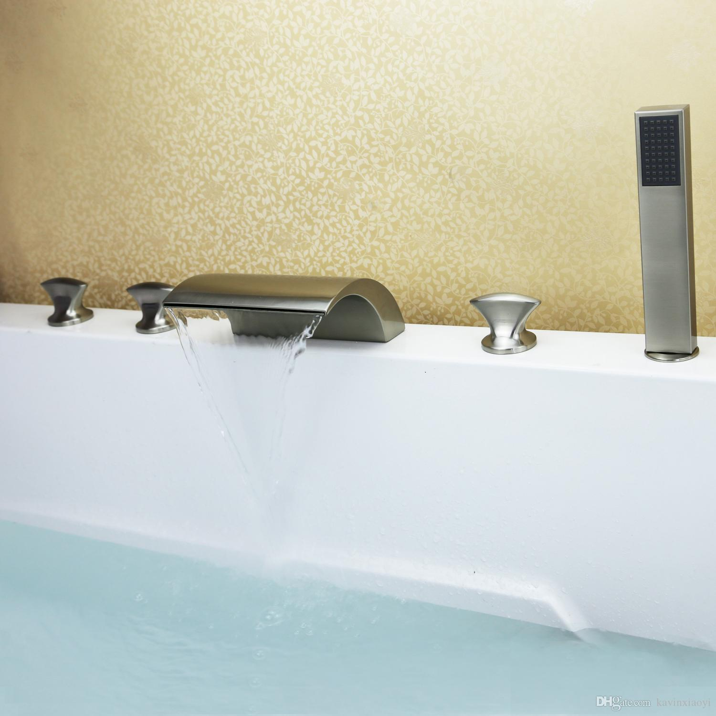 5 piezas de níquel cepillado bañera ducha cascada grifo envío gratis bañera romana grifos de baño con ducha de mano montado en la cubierta 3 manijas manetas de palanca