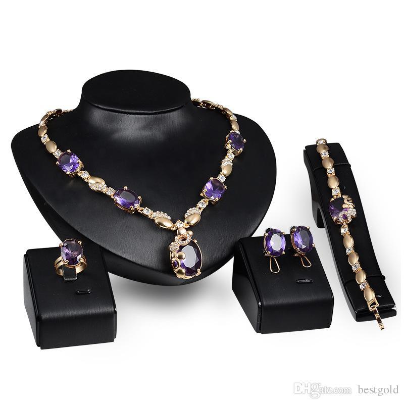 Dubaï pendentif en or bleu 18K collier de cristal ensemble de la mode diamant africain mariage ensembles de bijoux de mariée (collier + bracelet + boucles d'oreilles + bague)