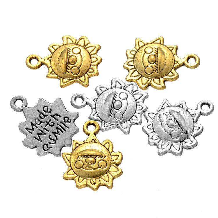 500 pcs 15 * 12mm DIY jóias de prata tom de liga de ouro feito com um sorriso citação encantos tag sol rosto encantos pingente para pulseira