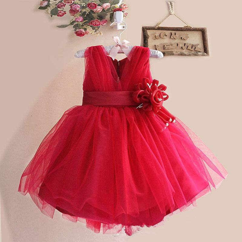 Retail girl dress for wedding 8 colors,girl lace party dress with belt flower,children princess dress L10038