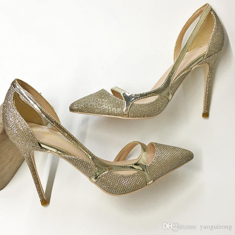 Paillettes d'or creux stiletto pointu talons hauts 8cm 10cm 12cm sandales sexy banquet chaussures sur mesure 33-45