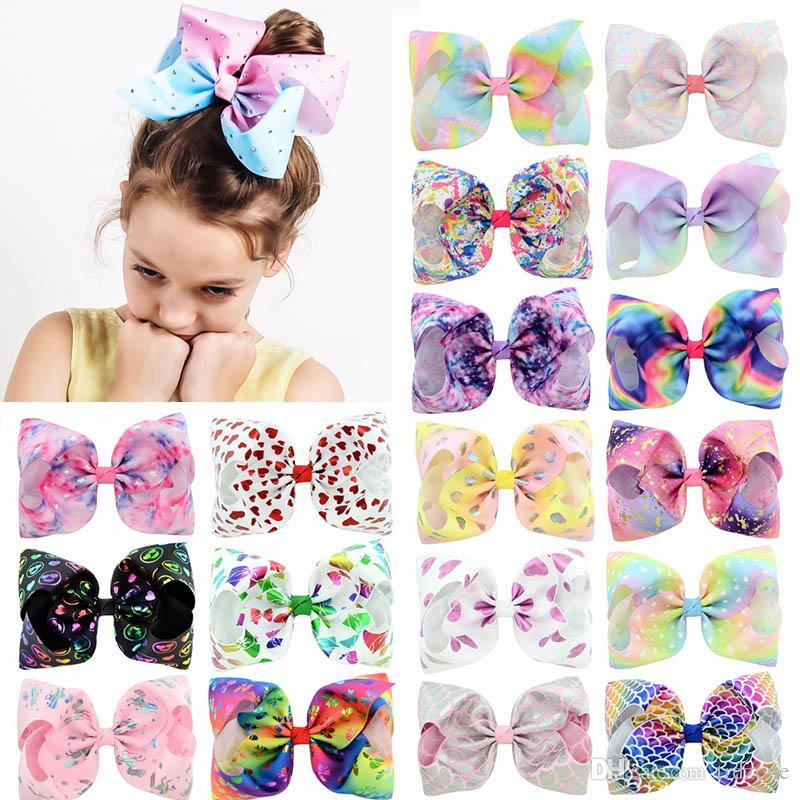8 Inch Rhinestone Hair Bow Jojo Bows With Clip For School Baby Children Large Sequin Bow 8 Style 65 color For valentines