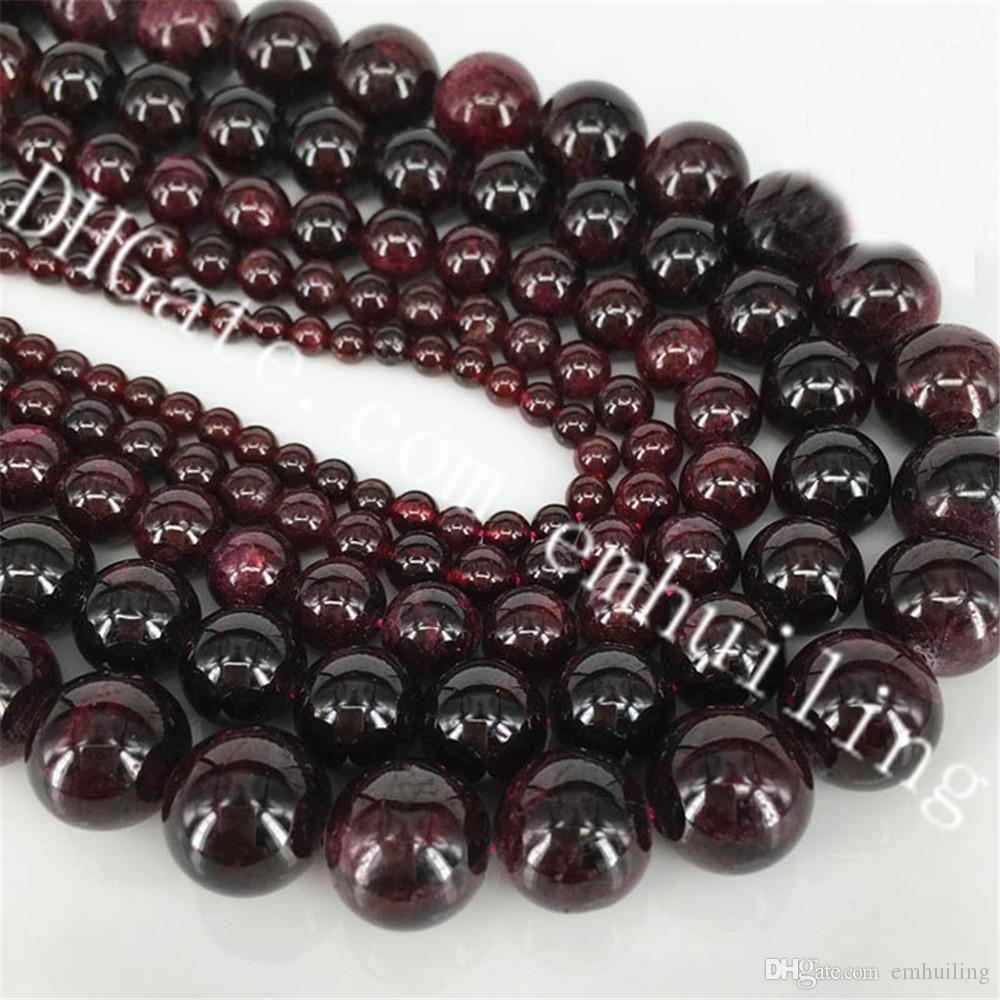 Diy Bracelet Necklace Garnet Beads 4mm 6mm 8mm 10mm 12mm Polished Round Precious Gemstone Beads Natural Garnet Stone Loose Beads 5 Strands