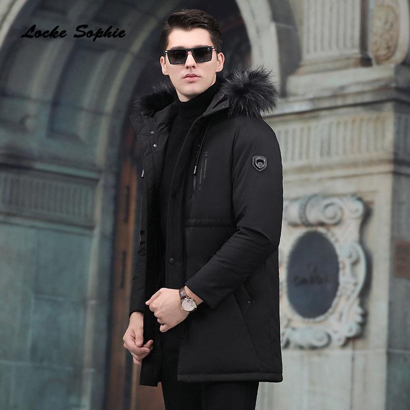1pcs Mens plus size Down jacket coats 2018 Winter Fashion Duck down Raccoon fur collar jackets men Skinny Keep warm jackets