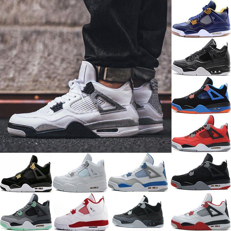 2017 4 Pure Money Chaussures de basketball Hommes 4s BRED Royalty White Cement Motorsport Sports de plein air Sneakers nous8-13