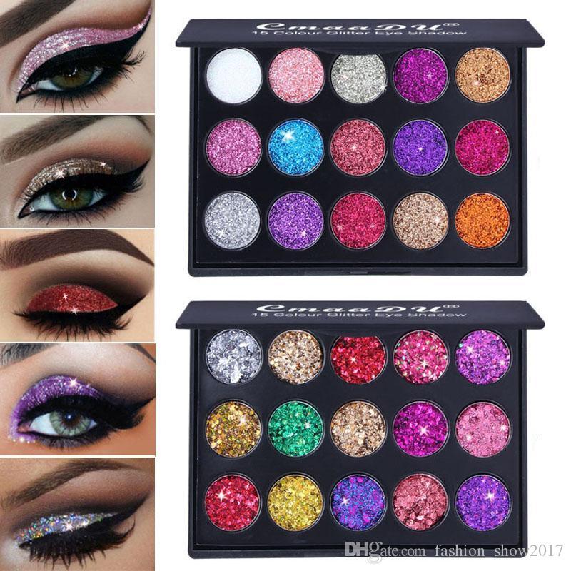 CmaaDu 15 Renkler Elmas Glitter Göz Farı Işıltılı Pırıltılı Mat Göz Farı Pudra Güzellik Kozmetik Makyaj Paleti vurgulayın