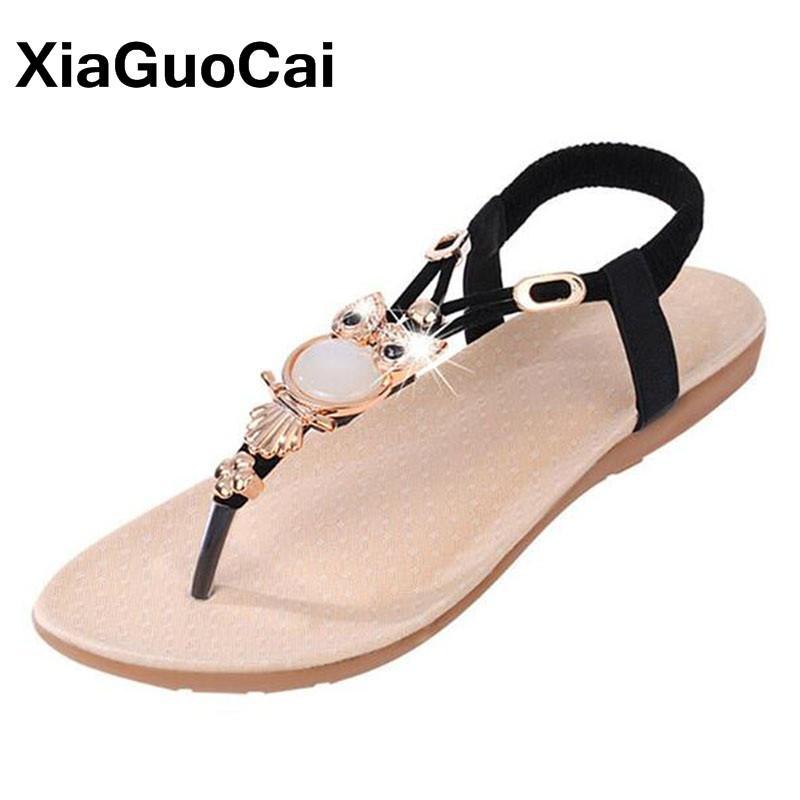 Womens Bohemian Gladiator Sandals Summer Beading Elastic Band Flip Flops Slip On Flat Vintage Shoes