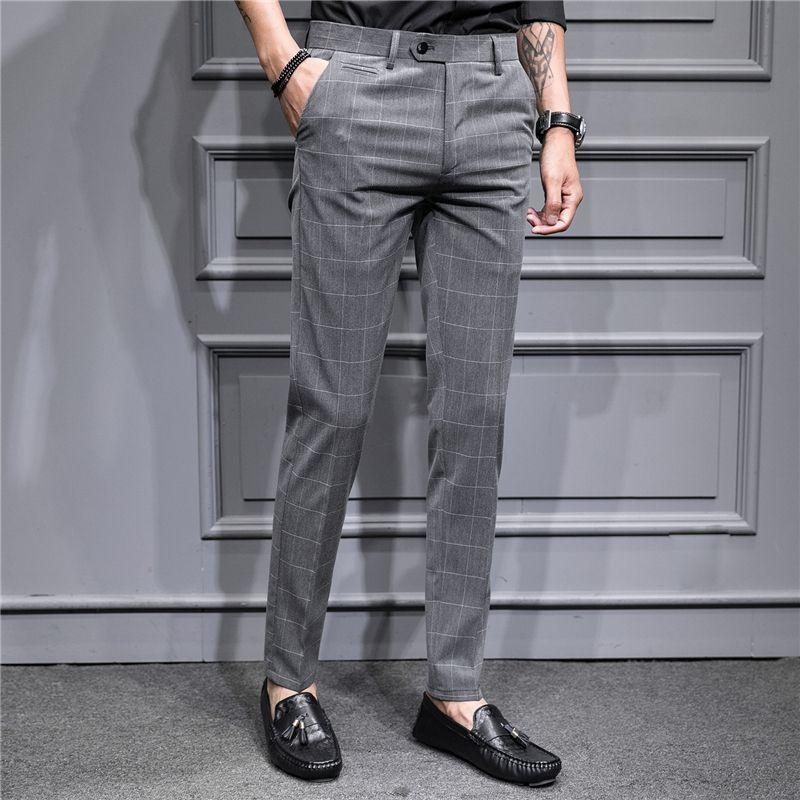revisa a369a 3eabe Compre Pantalones De Tela Escocesa Para Hombre Pantalones De Traje Gris  Casual Para Hombre De Negocios Hombres Otoño Nuevo Hombre Pantalón A $50.78  ...