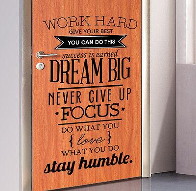 Work Hard Dream Big Wall Sticker Words Sayings fice Decor Quote PVC Decal DIY Mural 2017 New Wall Stickers Fashion Adhesive Wall Art Adhesive Wall