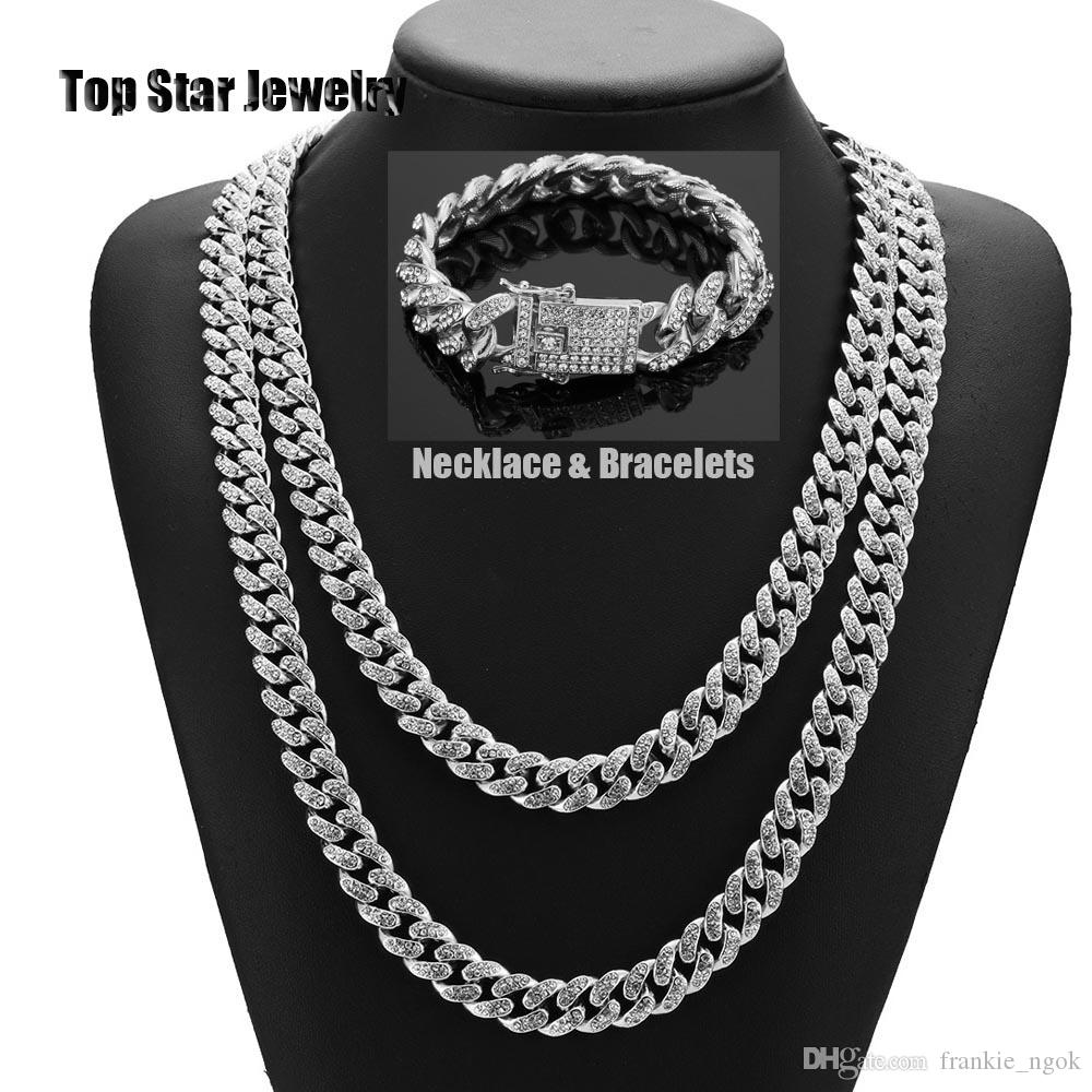 HipHop Bling Bling Jewelry Sets 14K Gold Plated Full Cubic Zirconia Necklace Bracelets Men Women MIAMI CUBAN LINK CHAIN Iced Out Accessories
