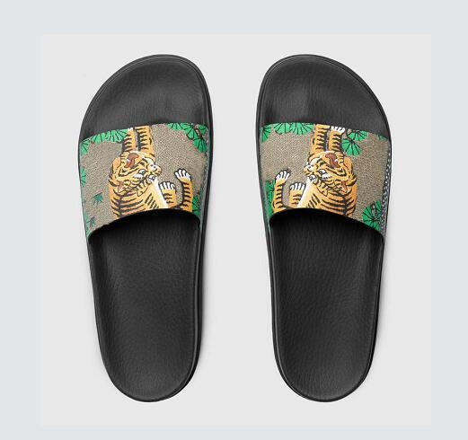 bc0e9e057 Fashion leather slide sandals slippers men women 2017 Hot tiger Designer  flower printed unisex beach flip
