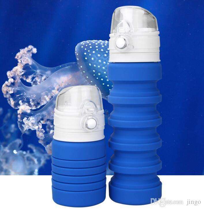Portable Collapsible Water Drink Bottle Cups Foldable Plastic Outdoor Gym Sports