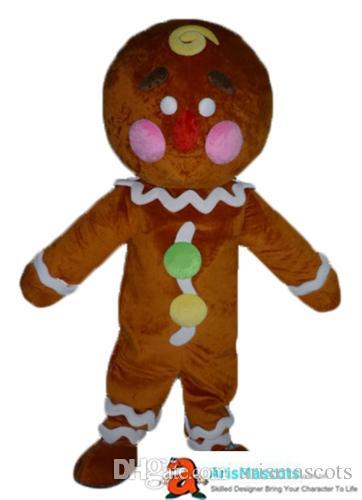 Funny Adult Cartoon Character Gingerbread Boy mascot costume funny mascot costumes for party custom mascots at arismascots