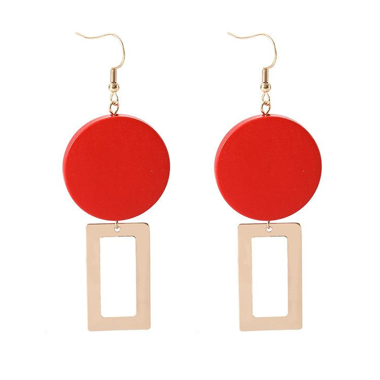 Street fashion ladies Earrings wholesale jewelry Temperament Restore Ancient Ways Red Wood Block Geometry Personality european style