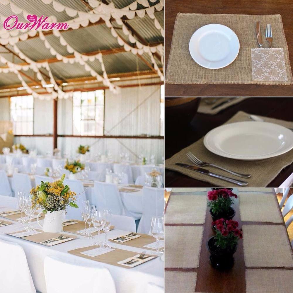 50Pcs/lot Vintage Burlap Table Mats Jute Coaster Set Dinning Table Placemats for Wedding Accessories Party Decorations Hot Sale
