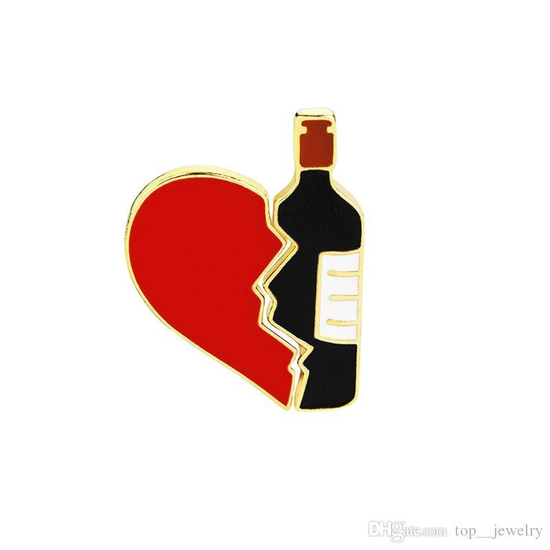 Creative Broken Love Heart Wine Bottle Brooch Metal Enamel Red Black Brooches Pins Denim Bag Lapel Pin Badge Jewelry for Girls