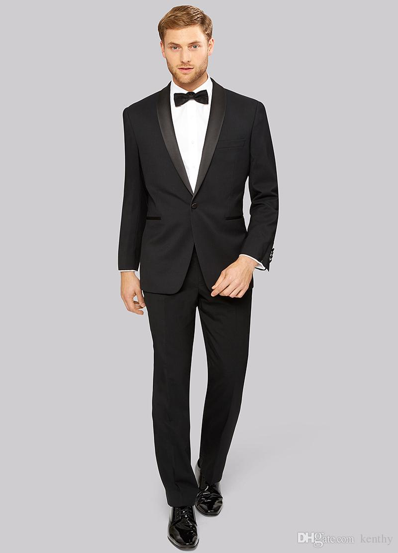 Custom Made 2018 Black Shawl Lapel Men's Suits Blazer Slim Fit Casual Wedding Suits Bridegroom Groomsmen Business Jacket+Pants Best Man