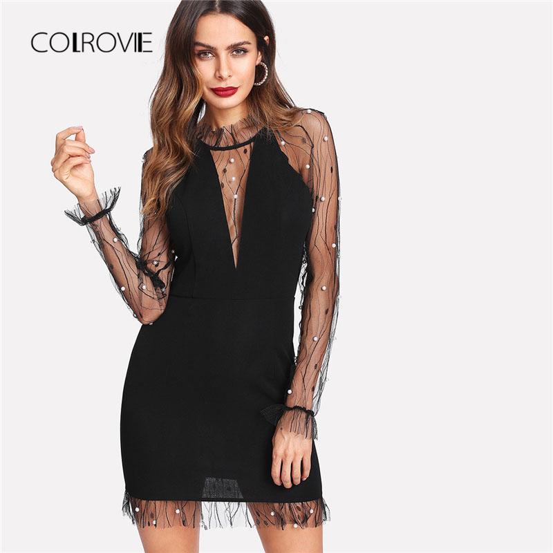 COLROVIE Schwarze Perle Sicke Vine Mesh Panel Kleid Frauen Rüschen Rundhals Langarm Sexy Kleid 2018 Party Bodycon Kleid C18111901