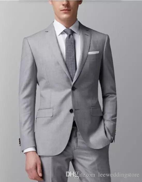 Grey Men Wedding Suit For Men Slim Fit Elegant Formal Dress Business Suits Tailor Made Groom Prom Best Man Tuxedos Handsome (Jacket+Pants)