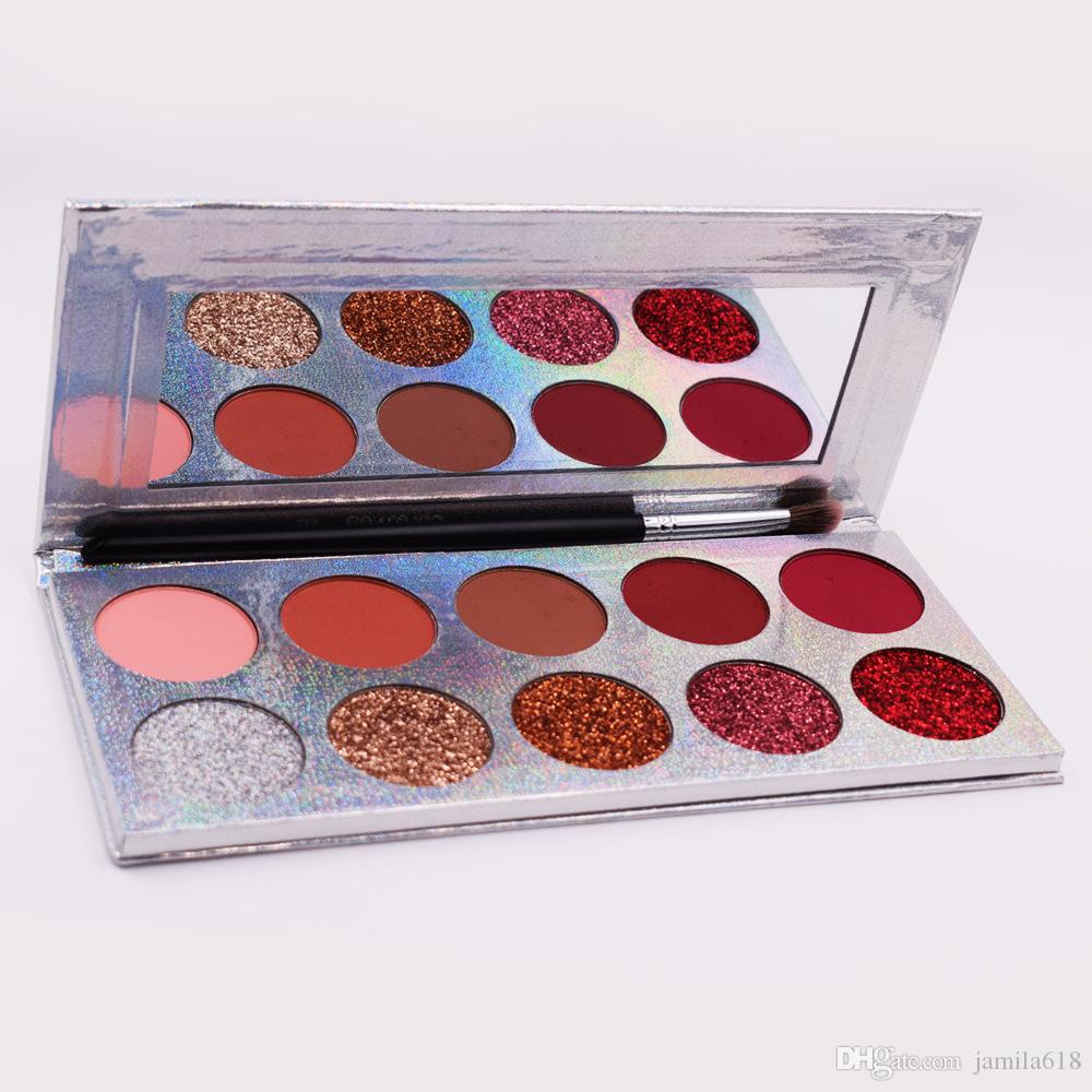 Wholesale pigmented 10 color Shiny shimmer eyeshadow palettes Matte and shimmer makeup eyeshadow Make Up Cosmetic eye shadow Palette