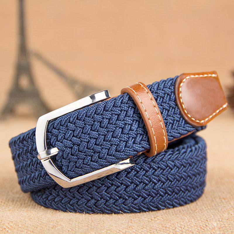 Canvas belt men's and women's universal hundred pin buckle casual belt elastic weaving loose wholesale braided belt