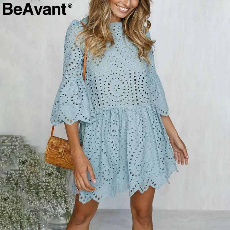 BeAvant выдалбливают вышитые кружевные платья женщин Повседневная оборками рукава белое платье летний пляж хлопок короткое платье vestidos 2018