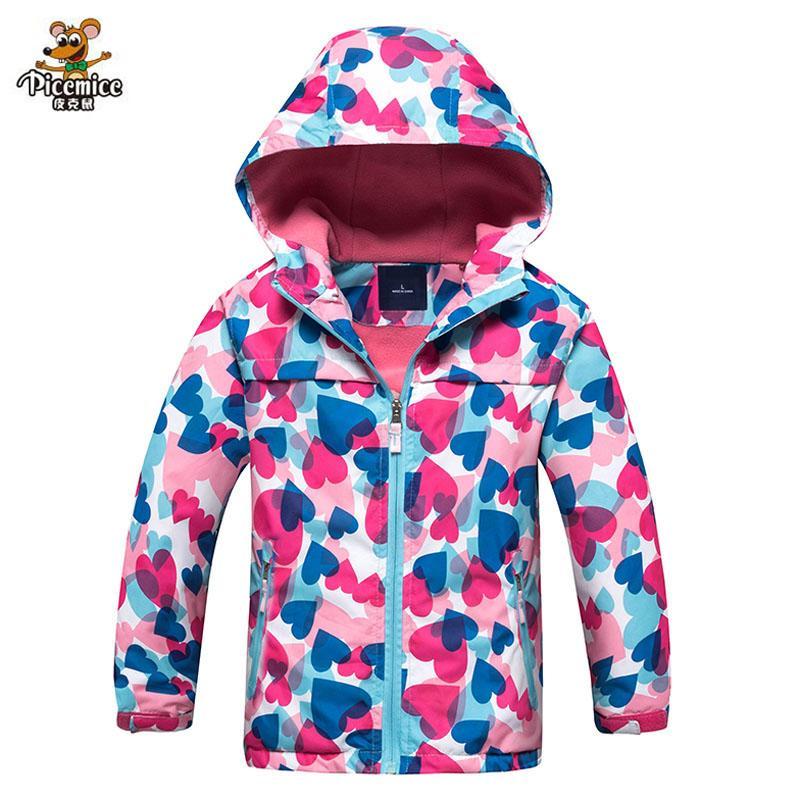 Девушка флис водонепроницаемая куртка 2018 весна осень дети пальто спортивные повседневные детские куртки ветрозащитные двухпалубные куртки