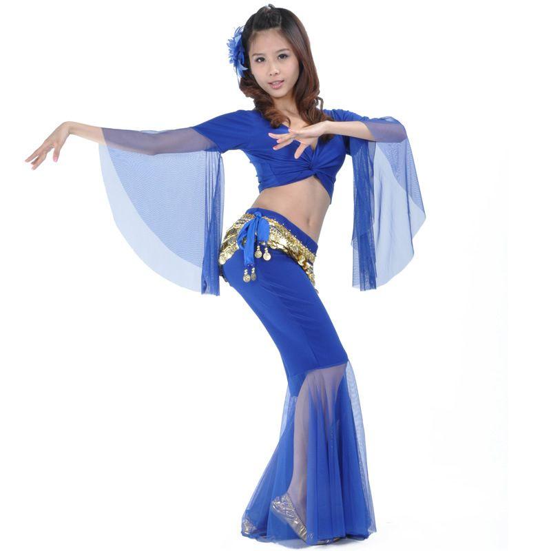 2018 Fashion Professional Belly Dance Costume Set Top+Pants+Belt 3pcs set Indian belly Dancewear Practice Costume