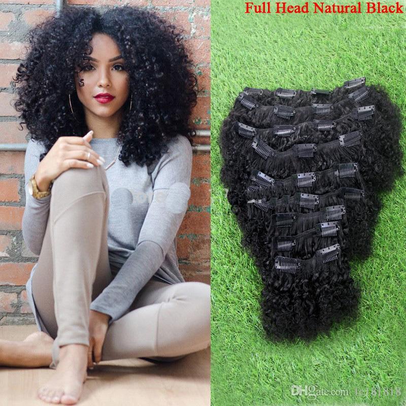 """100g 18 """"20"""" 22 """"24"""" mongolische verworrene lockige Clip in Afro Haarverlängerung 9pcs Echthaar Clip in Erweiterungen Produkte Afro verworrenen lockigen Clip"""